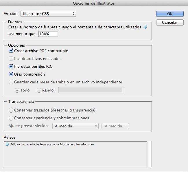 Guardar archivos de Adobe Illustrator CS6 en versiones anteriores