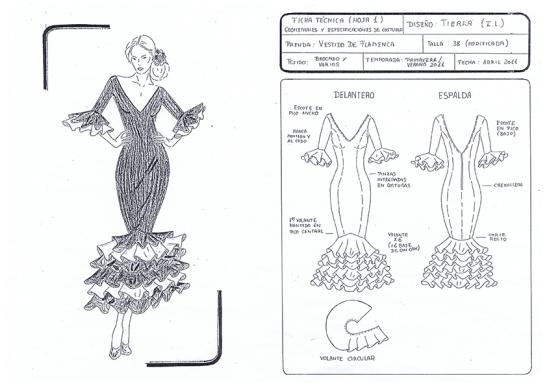 Boceto Ficha Técnica 1: Figurín y Diseño en Plano