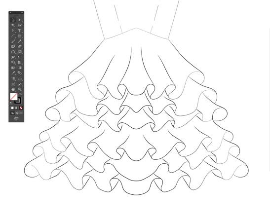 Dibujo en Plano de Traje de Flamenca