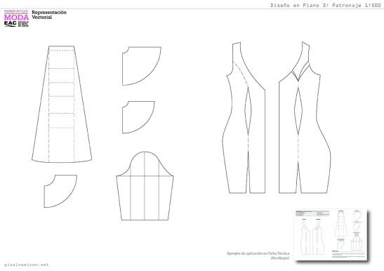 Diseño en Plano 3: Patronaje de Vestido de Flamenca. Diseño de Moda. pixelnomicon.net