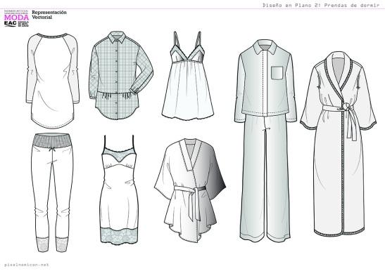 Diseño en Plano 2. Prendas de dormir. diseño de Moda. pixelnomicon.net