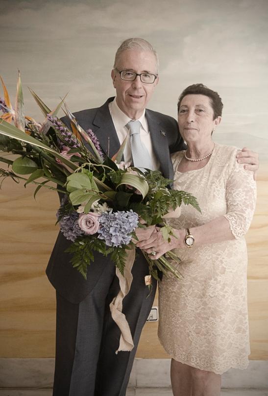 Jose Miguel y su esposa Conchi en la cena homenaje de la Escuela de Arte